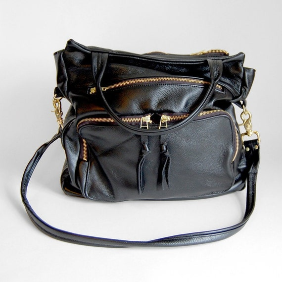 4 pocket tall Willow bag in black- clip on cross body strap