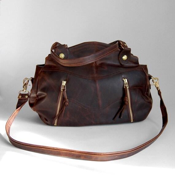 SALE - Medium Larch bag in walnut wood brown- clip on cross body strap