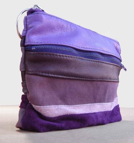 Purple stripe leather make up bag SALE