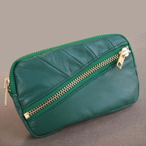 Multi purpose leather wallet Jade green