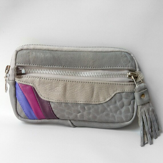 SALE - Leather wallet in grey and orchid