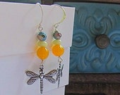 Dragonfly Earrings with Yellow Czech Glass