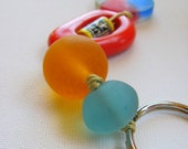 Resin Key Ring - Red Blue and Yellow