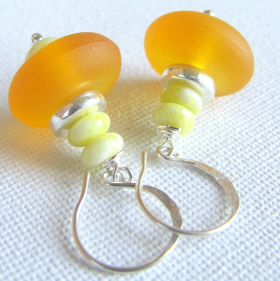 Lemon Butter Earrings with Resin and Yellow Jade