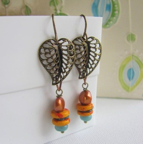 Golden Leaf Earrings with Brass Charms and Orange Ceramic
