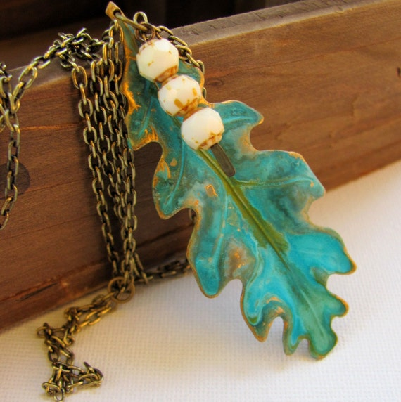 SALE - Oak Leaf Falling - Verdigris Brass Pendant on Antiqued Gold Chain