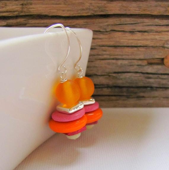 Mango Earrings - Orange Pink and Yellow Beaded