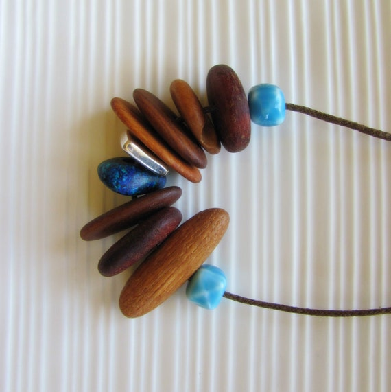 Long Ocean Driftwood Necklace - Australian Recycled Wood and Fresh Water Pearls