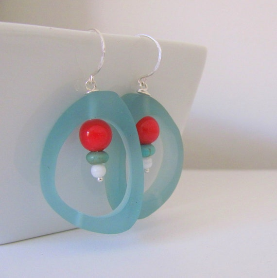 Turquoise Resin and Red Glass Earrings with Sterling Silver Hooks