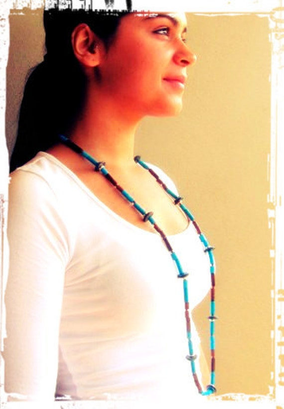 Ceramic Beaded Necklace - The Aztec in Blue