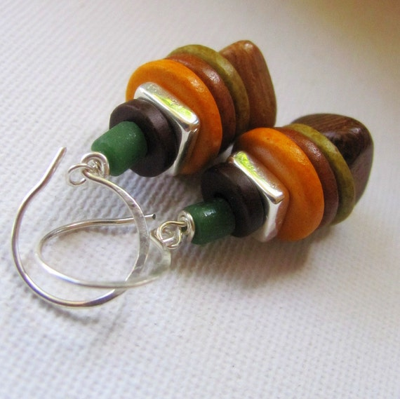 Woody Earrings - Timber and Green Ceramic