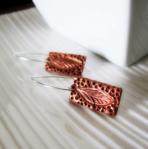 Copper Leaf Earrings on Sterling Silver Hooks