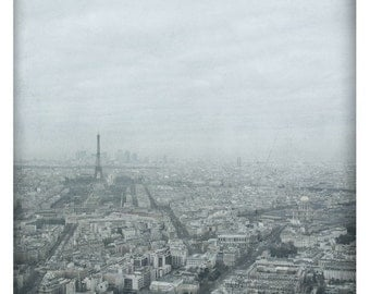 Capitale  (Landscape Photography - Fine Art Print - Paris-  Eiffel Tower - Rooftops - Black and white - Grey)