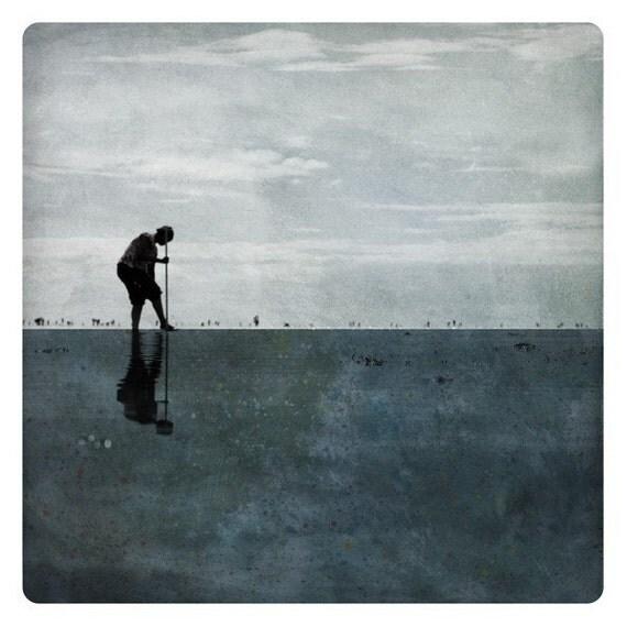 Pole Petrole (Landscape Photography - Fine Art Print - Beach - Slhouette - Painting - Color Block - Dark Blue)