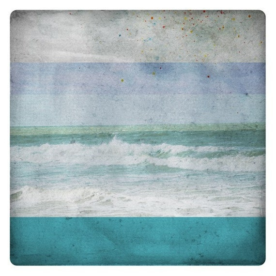 Ben Azur (Nature Photography - Fine Art Print - Waves- Ocean - Water -Still life - Nature - Monochromatic -paints - Turquoise - Blue)