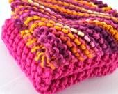 Knit Cotton Dishcloths - Beautiful Batik Hand Knit Wash Cloths and Dish Cloths - Etsy Tresaury Front Page Item - Hand Knit Rag - Gift