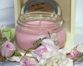 Soy Candle - Rose Jasmine Soy Candle - 100% Cotton Wick - Clean Burning Candle - PInk Soy Candle - On Sale