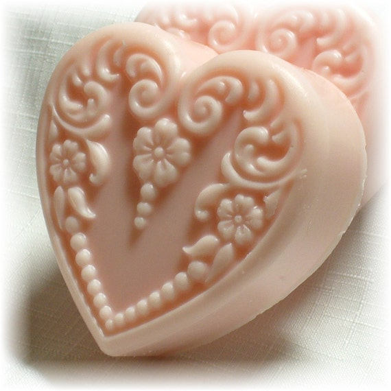 Valentines Day Soap - Strawberries and Champagne Scent - Goats Milk Soap - Victorian Heart Shape - Made it to the Front Page of Etsy