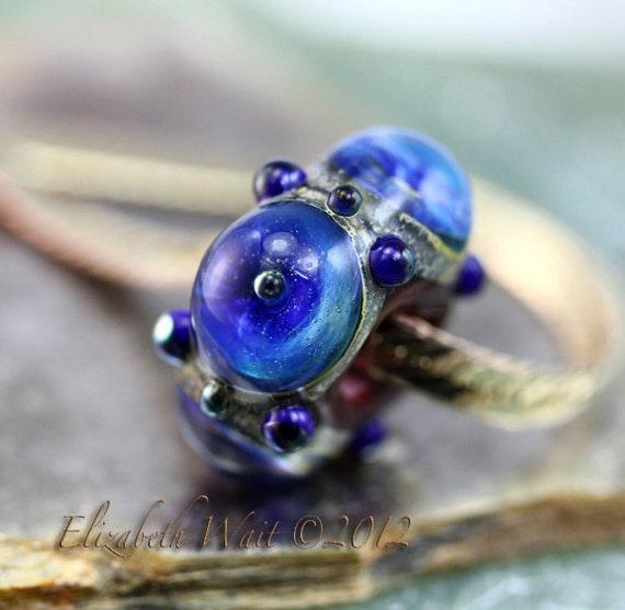 Shimmering Blue Galaxy 6400 Large Hole Bead BHB betsybeads Lampwork Bead SRA
