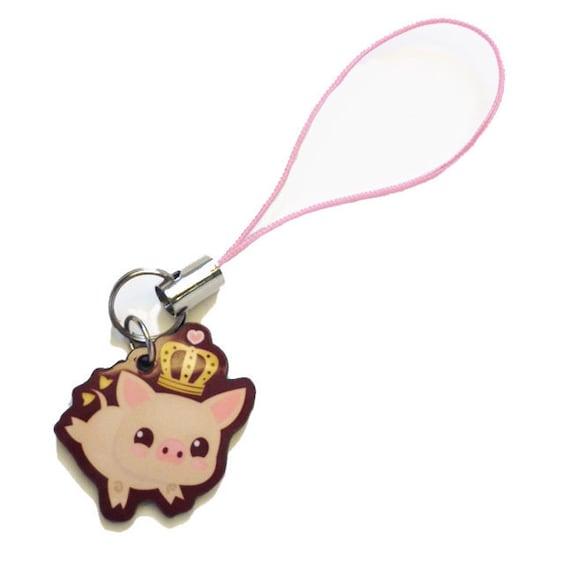 princess truffle cute pig phone charm