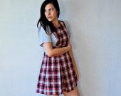 vintage PINAFORE dress /  1980s PLAID school girl mini dress