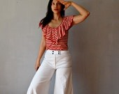 nautical SAILOR pants / 1970s ultra WIDE LEG trousers