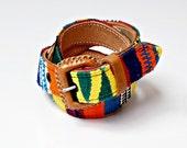 vintage SOUTHWEST belt / colorful woven NATIVE leather belt NOS