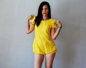 Reserved for Heidi        vintage SUNSHINE romper /  1960s puff sleeves and short shorts