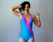 shiney CHEVRON swimsuit / 1980s plunging v neck striped one piece
