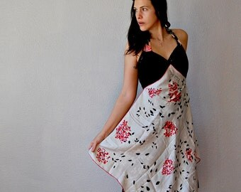 reconstructed SILK dress / chiffon skirt halter dress