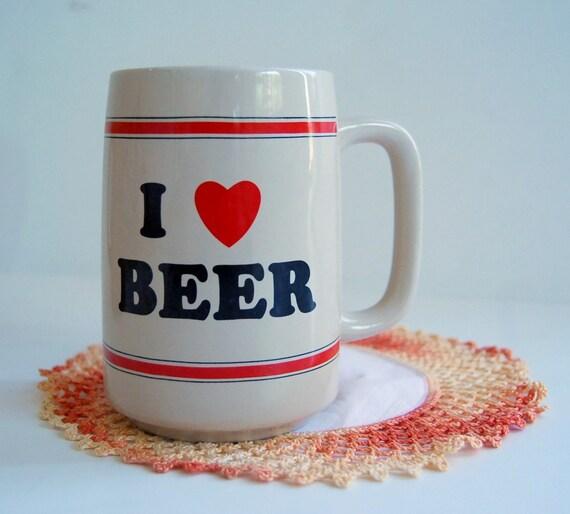 I HEART BEER...vintage 70s beer mug coffee cup