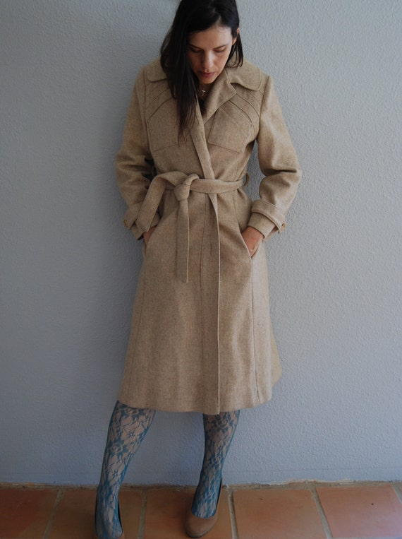 60s wool trench / O A T M E A L color / geometric detail coat