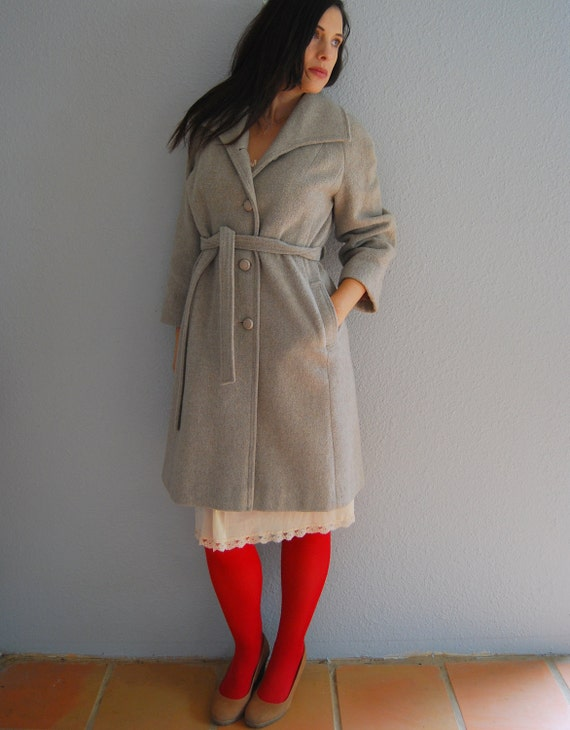 60s G R A Y wool trench / huge lapel / wrap coat