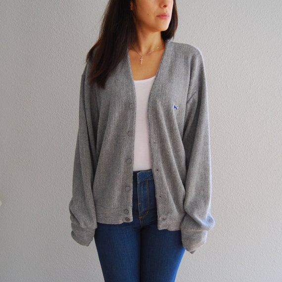 vintage 70s cardigan / heather gray FOX / slouchy sweater