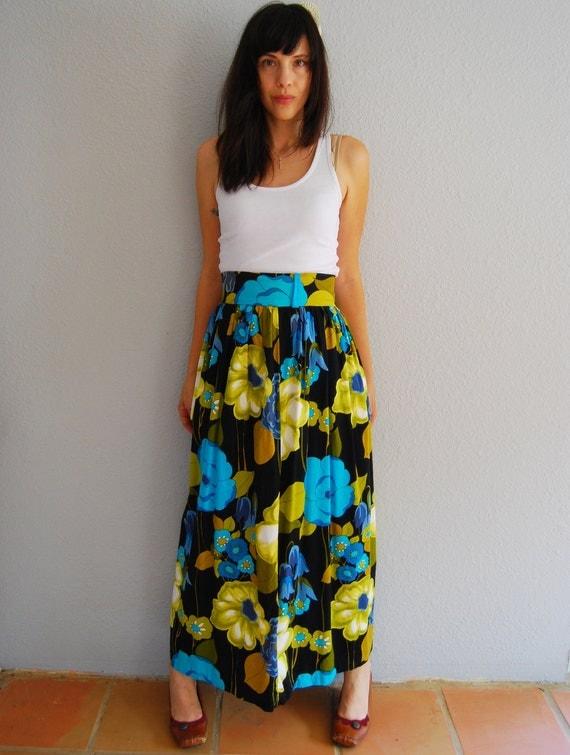 vintage 1960s FLORAL print high waist maxi skirt