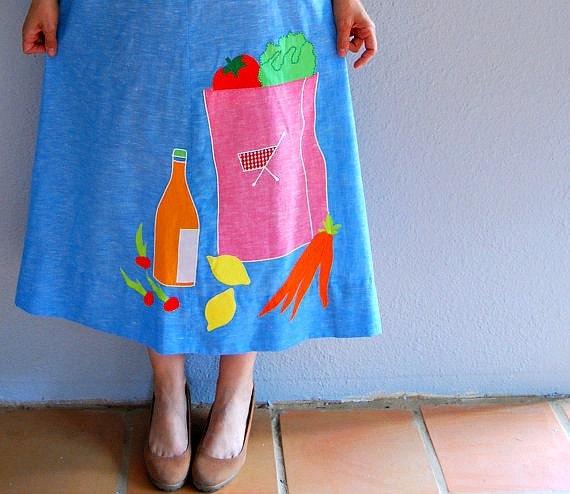 periwinkle N O V E L T Y applique / a line house dress
