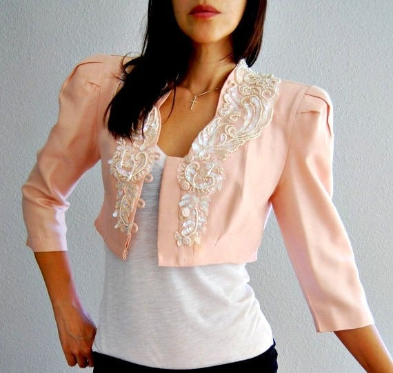 cropped SEQUINED blazer / embellished 1980s PEACH puff sleeve