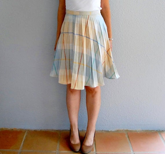 vintage LIBRARIAN skirt /  1970s high waisted WOOL pleated skirt