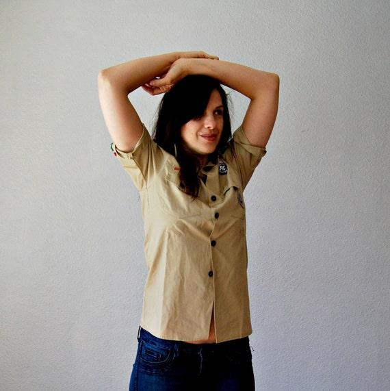 boy SCOUTS blouse / button down khaki top