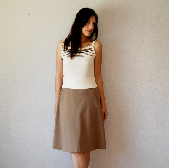 vintage TENNIS dress / cream and taupe 1960s a line skirt