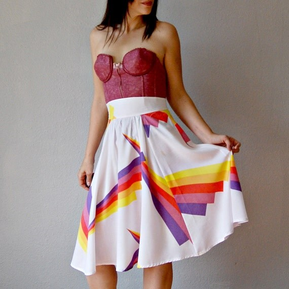 full GEOMETRIC skirt / high waisted circle skirt