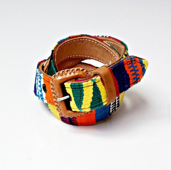 vintage SOUTHWEST belt / colorful woven NATIVE leather belt NOS
