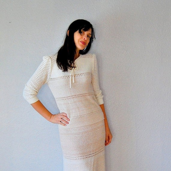 oatmeal KNIT dress / puff sleeve open stitch two piece suit