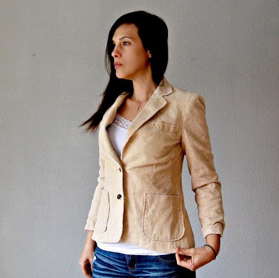 ivory CORD blazer / 1970s SPORT coat