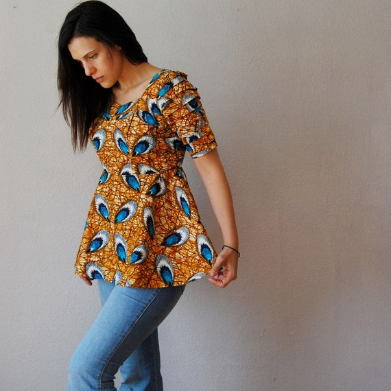 PEACOCK print blouse / 1970s origami sleeve blouse