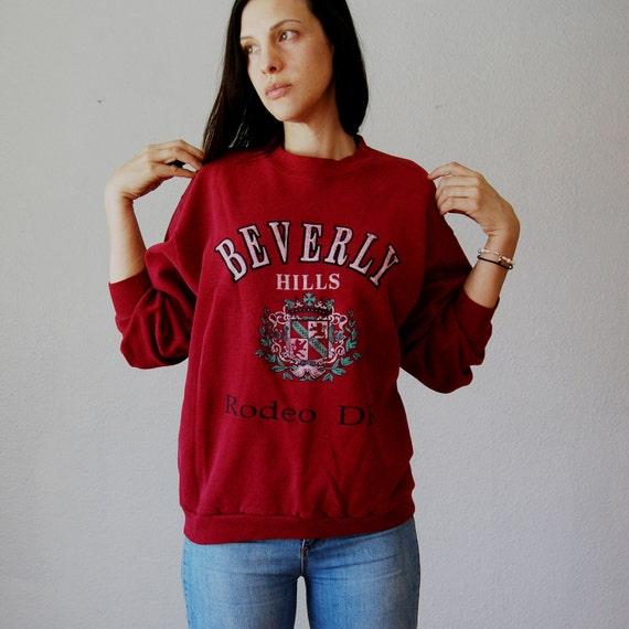 novelty GRAPHIC sweatshirt  / 1980s BEVERLY HILLS oversized pull over