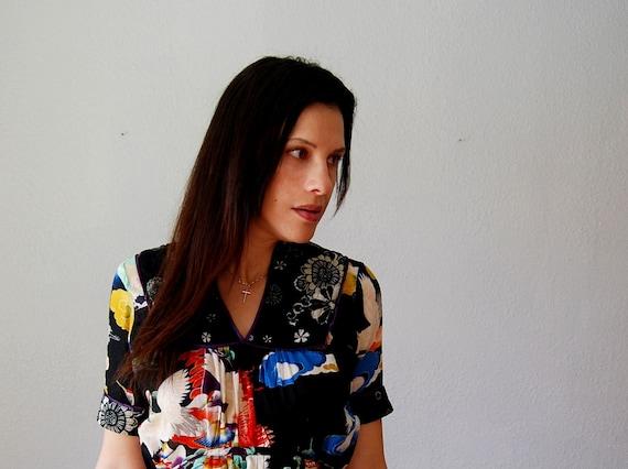 vintage SHEER black blouse / 1990s asian print top