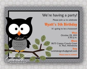 Owl Birthday Invitation - owl branch, Look Whooo's Having a Party  - printable party