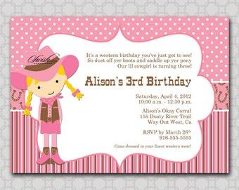 Cowgirl Birthday Invitation - Digital printable invitations