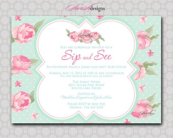Sip and See Shabby Chic Baby Shower Invitation - Rose Flower Shabby Chic - Printable - 5x7 digital file